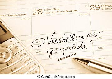 calendar entry interview - a date is entered on a calendar:...