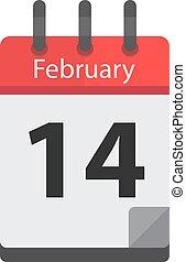 Calendar February 14 - February 14. Calendar icon.Valentines...