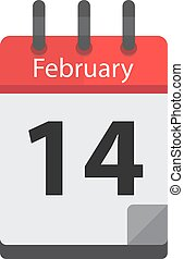 February 14. Calendar icon. Valentines day. Love. illustration flat style Month and date