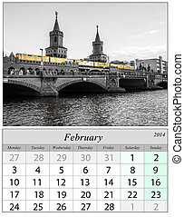 Calendar February 2014. Berlin, Germnay.