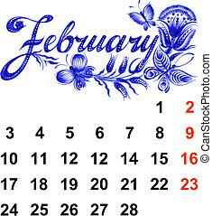 Calendar, February 2014, hand drawn, in Ukrainian folk style