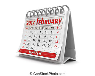 Calendar -  february 2017  (clipping path included)