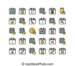 Calendar filled outline icon set. Vector and Illustration.
