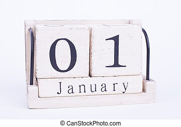 Calendar first of January isolate