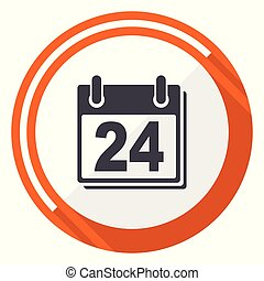 Calendar flat design vector web icon. Round orange internet button isolated on white background.