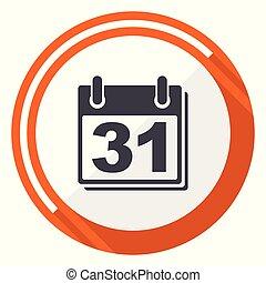 Calendar flat design vector web icon. Round orange internet button isolated on white background.