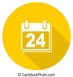 calendar flat design yellow web icon