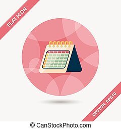 Calendar flat icon with long shadow, eps10