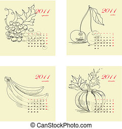 Calendar for 2011 with fruit.