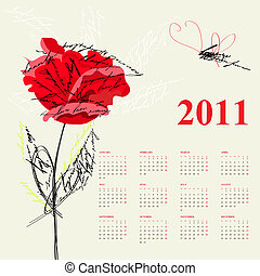Calendar for 2011 with red rose flo