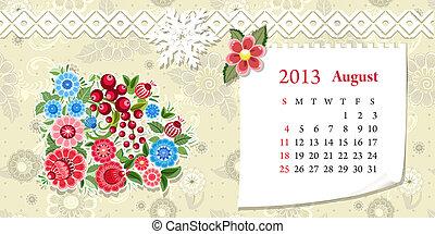Calendar for 2013, august