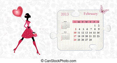 Calendar for 2013, february