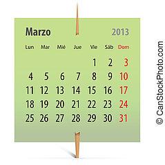 Calendar for 2013 in Spanish
