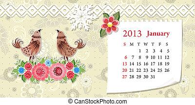 Calendar for 2013, january