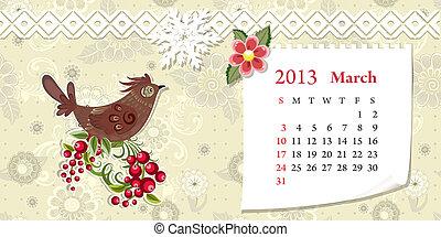 Calendar for 2013, march