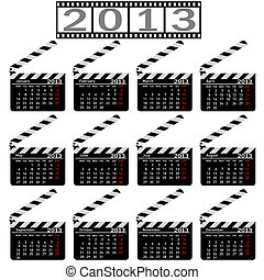 calendar for 2013,  movie clapper board. Vector Illustration.