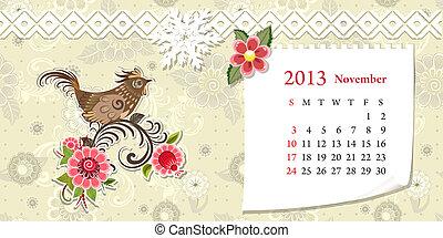 Calendar for 2013, november