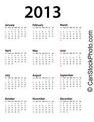 Calendar for 2013 on white, vector