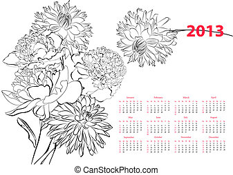 Calendar for 2013 with flowers