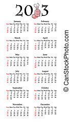 Calendar for 2013 with funny thumbs up cartoon