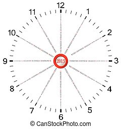 calendar for 2013 year in the form of clock four