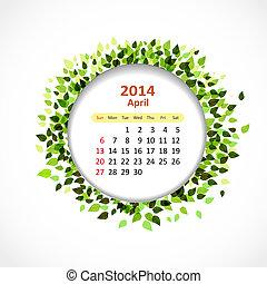 Calendar for 2014, april