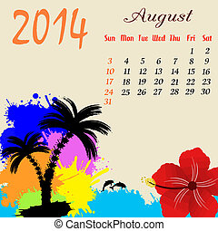 Calendar for 2014 August