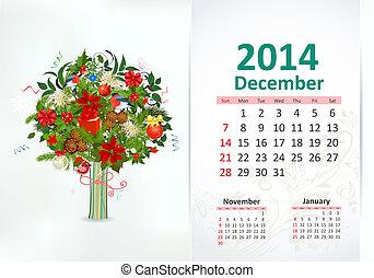 Calendar for 2014, December
