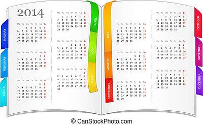 Calendar for 2014 in open book