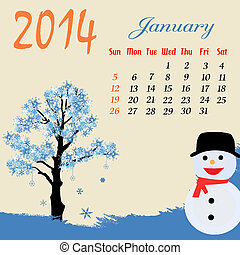 Calendar for 2014 January with winter tree and snowman,...