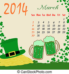 Calendar for 2014 March