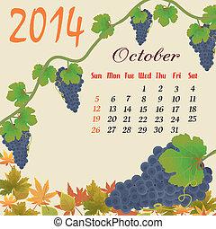 Calendar for 2014 October