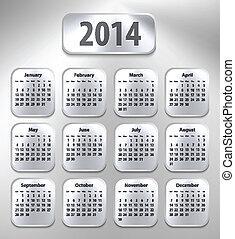 Calendar for 2014 on brushed metal tablets