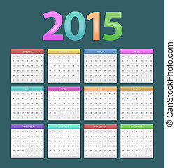 Calendar for 2015 - Vector illustration of Calendar for 2015...