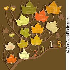 Calendar for 2015 - Tree shape calendar for 2015