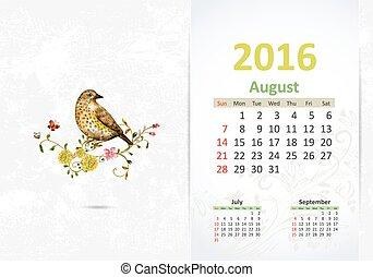 Calendar for 2016, August