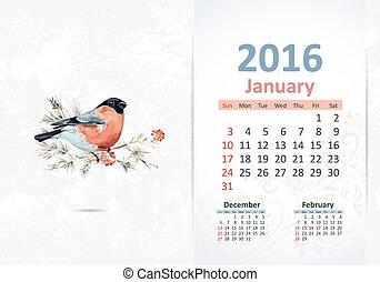 Calendar for 2016, january