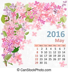 Calendar for 2016, May