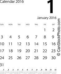 calendar for 2016 on white background. Vector EPS10.