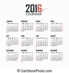 Calendar for 2016 on white background.