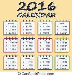 Calendar for 2016 . Week Starts Monday.