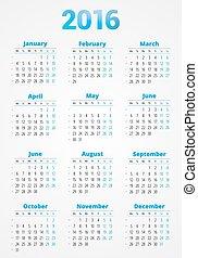 Calendar for 2016 Year. Vector Design Print Template. Week Starts Monday