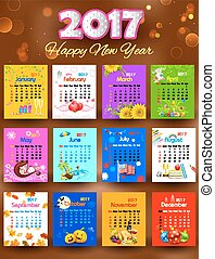 Calendar for 2017 - illustration of complete calendar for...