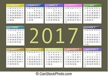 calendar for 2017 on dark background horizontal