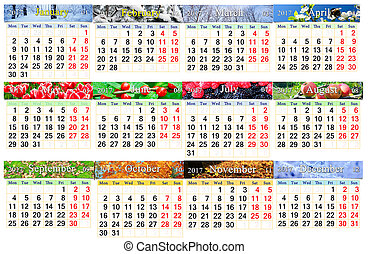 calendar for 2017 in English with twelve photo of nature