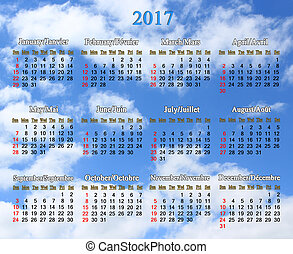 calendar for 2017 on the background of blue sky