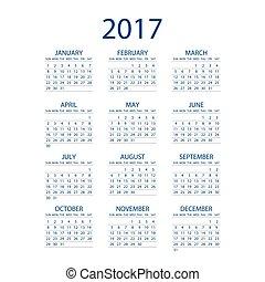 Calendar for 2017 on white background. Vector EPS10.