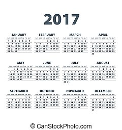 Calendar for 2017 on white background. Vector EPS10. art