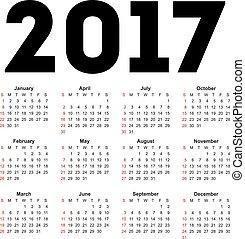 Calendar for 2017 on white background.