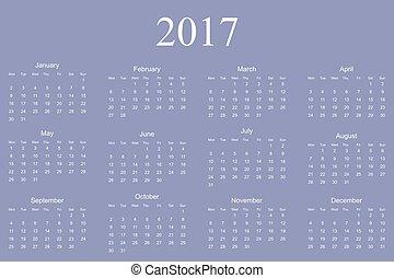 Calendar for 2017 on white background. Vector EPS10